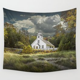 Old Mission Point Lighthouse in Early Autumn Wall Tapestry