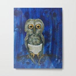 Owl in Underpants Metal Print