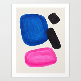 Mid Century Modern Abstract Minimalist Fun Colorful Shapes Magenta Phthalo Blue Bubbles Pop Art Art Print