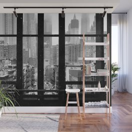 New York City Window Black and White Wall Mural