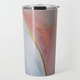Bliss: A pretty, minimal, abstract mixed-media piece in pink white and gold by Alyssa Hamilton Art Travel Mug