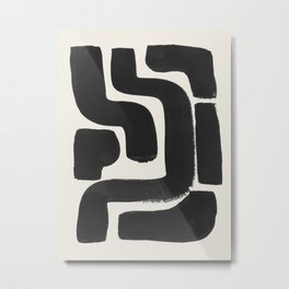 Black Ink Paint Brush Strokes Abstract Organic Pattern Mid Century Style Metal Print
