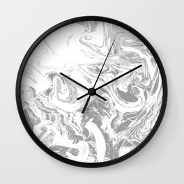 Suminagashi japanese spilled ink grey watercolor painting minimalist abstract marble marbling Wall Clock