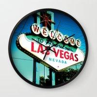 las vegas Wall Clocks featuring Las Vegas by very giorgious