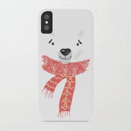 Christmas cute bear. Winter design illustration iPhone Case