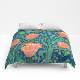 Coral Proteas on Blue Pattern Painting Comforters