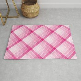 Pink Geometric Squares Diagonal Check Tablecloth Rug