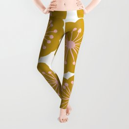Mid Century Mod Flowers in Pink and Mustard Leggings
