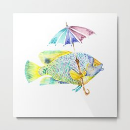 Fishy Fish - Original Watercolor of Yellow Mask Angel Fish with Umbrella Metal Print