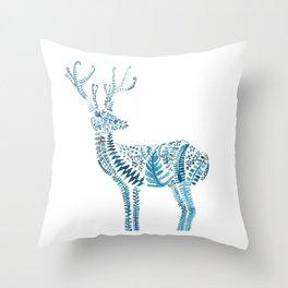 green deer watercolor Throw Pillow