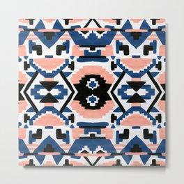 Geometric Aztec - coral and lapis Metal Print