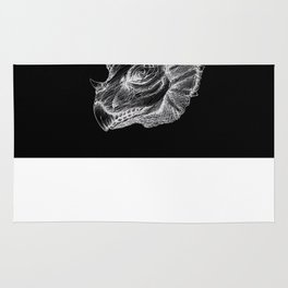Triceratops negative drawing Rug