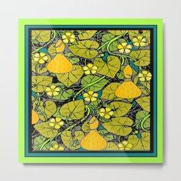 Green Art Nouveau Vines Gourds Floral Teal Art Metal Print