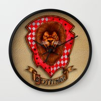 gryffindor Wall Clocks featuring Gryffindor shield emblem by JanaProject