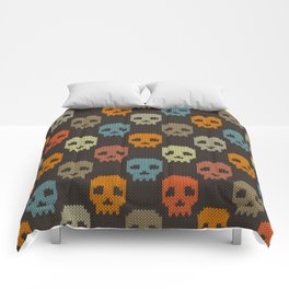 Knitted skull pattern - colorful Comforters