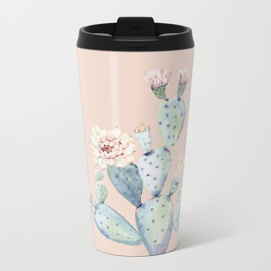 Desert Rose Cactus Pink Metal Travel Mug
