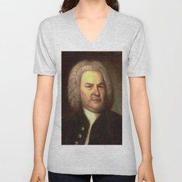 Elias Gottlob Haussmann – portrait of Bach Unisex V-Neck