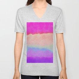 Modern girly pink magenta violet lavender watercolor stripes Unisex V-Neck