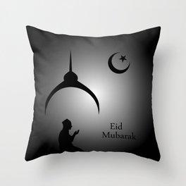 Man praying under the moon Throw Pillow