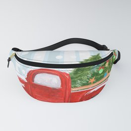 Christmas Red PickUp Truck on a Snowy Road Fanny Pack