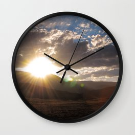 Wyoming Sunset with Lens Flair over the Beartooth Moutains Wall Clock