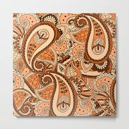 African Pattern No22 Brown Metal Print