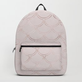 Geometric art deco pattern rose gold mermaid scales and golden glitter texture Backpack