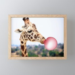 Bubble Gum Giraffe Framed Mini Art Print