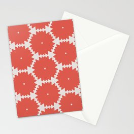 Red Stars of Christmas Pattern Geometric Abstract Stationery Cards