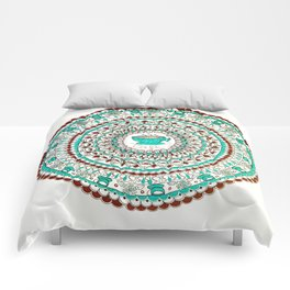 Cafe Expresso Teal, Brown, and White Mandala Comforters