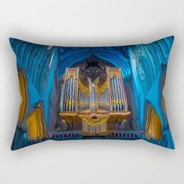 Blue Cathedral Gold Pipe Organ Rectangular Pillow