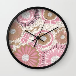 Pink & Gold Flowers Wall Clock