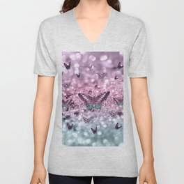 Pastel Unicorn Butterfly Glitter Dream #2 #shiny #decor #art #society6 Unisex V-Neck