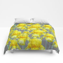 OODLES OF YELLOW IRIS GREY GARDEN ART Comforters