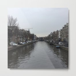 Amsterdam River on a rainy day ideal gift for netherland photography fans and traveling lovers  Metal Print