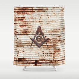 Rusty Red Square Compass Shower Curtain