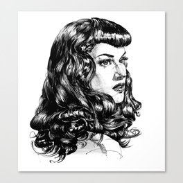 Pin Up Lady portrait. Emotional Portrait. Canvas Print