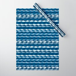 Classic Blue Wave Pattern Wrapping Paper