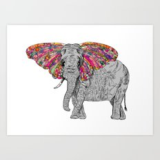 Bella The Happy Butterphant Art Print