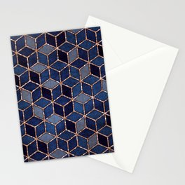Shades Of Purple & Blue Cubes Pattern Stationery Cards
