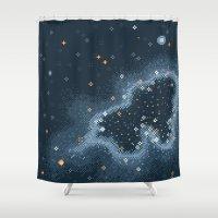 8bit Shower Curtains featuring Grey Rift Galaxy (8bit) by Sarajea