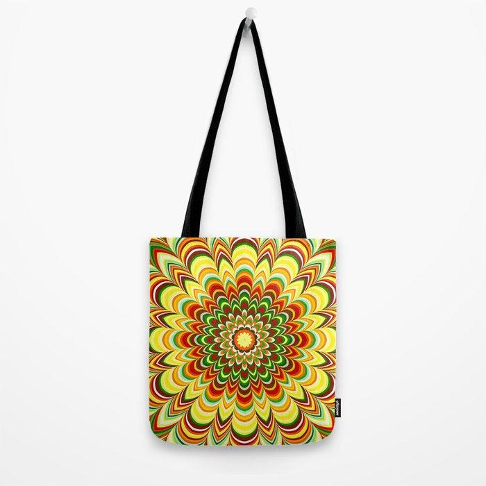 Colorful flower striped mandala Tote Bag