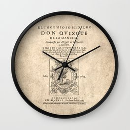 Cervantes. Don Quijote, 1605. Wall Clock
