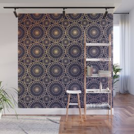 Circle fretwork in Navy & gold Wall Mural