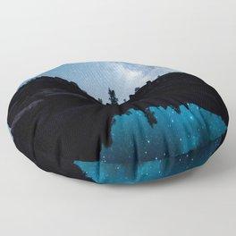 Late Night Milky Way Landscape Floor Pillow