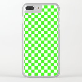 Small Checkered - White and Neon Green Clear iPhone Case
