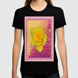 Modern Pink-Red Patterned Yellow Rose Abstract Art. T-shirt