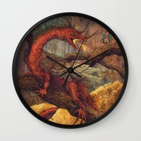smaug Wall Clocks featuring Dragons Lair by Angela Rizza