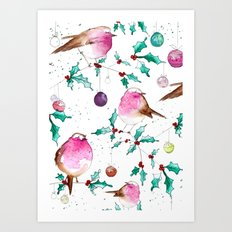 Robin and Baubles Art Print