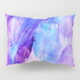 Watercolor hand painted pink teal lavender brushstrokes Pillow Sham